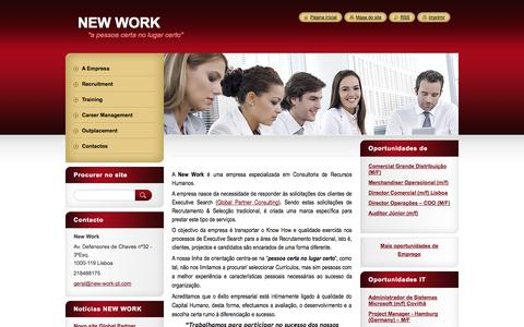 Screenshot of Home Page new-work-pt.eu - New Work (Recruitment, Training, Outsourcing, Career Management, Outplacement) - captured Oct. 8, 2014