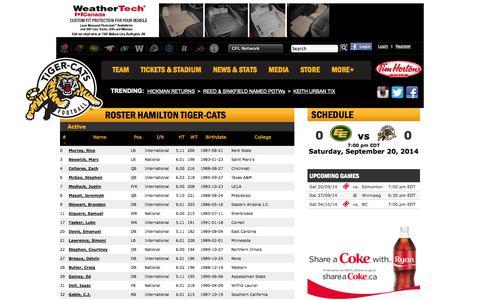 Screenshot of Team Page ticats.ca - Roster   Hamilton Tiger-Cats - captured Sept. 19, 2014