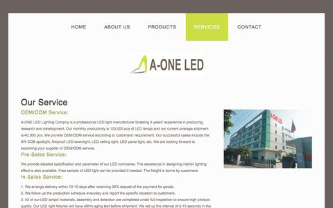 Screenshot of Services Page aoneled.com - Service of A-ONE LED Lighting - captured Sept. 23, 2017