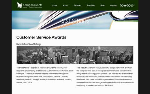 Screenshot of Case Studies Page paragon-events.com - Paragon Events |   Case Studies - captured Nov. 1, 2014