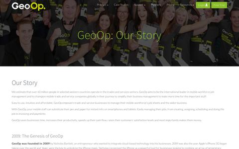 Screenshot of About Page geoop.com - Our Story » GeoOp - captured Sept. 12, 2014