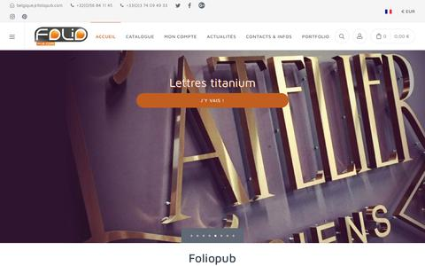 Screenshot of Home Page foliopub.com - Fabrication Vente en Enseignes et signalétique Foliopub - captured April 10, 2018