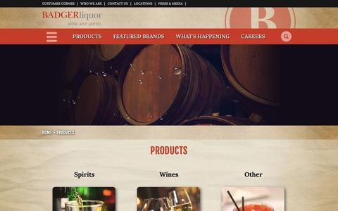 Screenshot of Products Page badgerliquor.com - Badger Liquor | Products - captured Oct. 5, 2018