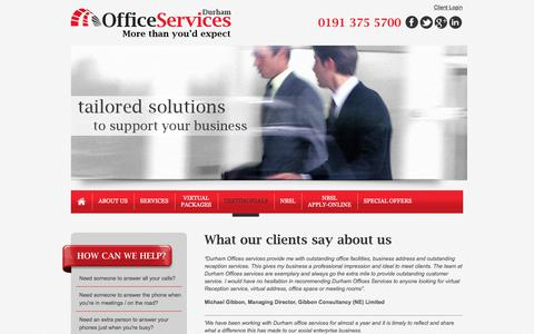 Screenshot of Testimonials Page durhamofficeservices.co.uk - Virtual Office Services | Telephone Answering Services | Meeting Room Hire | Durham | Sunderland | Newcastle - captured June 5, 2017