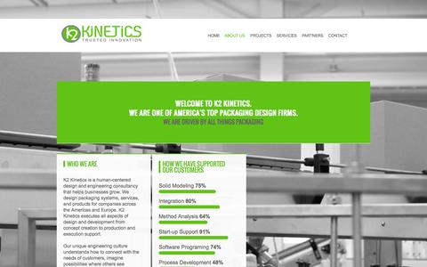 Screenshot of About Page k2kinetics.com - K2 Kinetics, LLC : About Us - captured Oct. 6, 2014