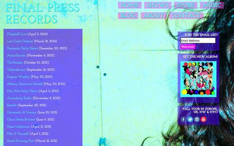 Screenshot of Press Page laurameyer.net - FINAL PRESS RECORDS | electric folk troubadour CYGNE | Press - captured Sept. 29, 2014