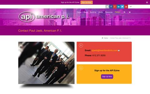 Screenshot of Contact Page americanprivateinvestigator.com - Contact Paul Jaeb, American P. I. | American P. I. - captured Oct. 1, 2014