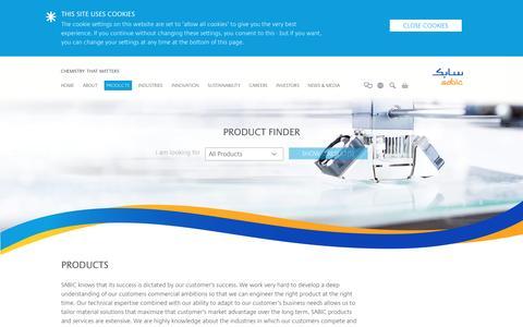 Screenshot of Products Page sabic.com - SABIC - captured Jan. 31, 2017