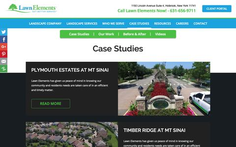 Screenshot of Case Studies Page lawnelements.com - Landscaping Case Studies | Lawn Elements - captured Sept. 27, 2018