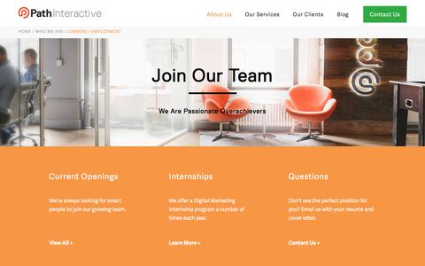 Screenshot of Jobs Page pathinteractive.com - Careers in Search Engine Marketing | SEO Jobs | Path Interactive - captured Dec. 3, 2016