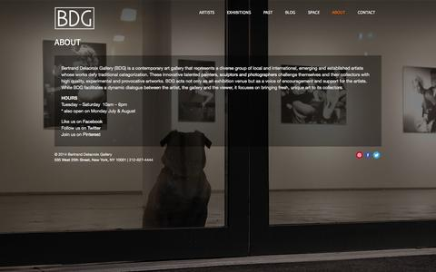 Screenshot of About Page bdgny.com - About - Bertrand Delacroix Gallery - captured Oct. 5, 2014