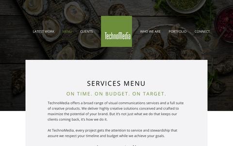 Screenshot of Menu Page technomediapei.com - Services Menu - captured June 19, 2017