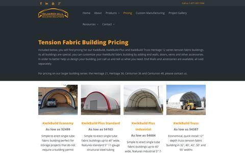 Screenshot of Pricing Page guard-all.com - Pricing | Guard-All Building Solutions - captured Oct. 3, 2014