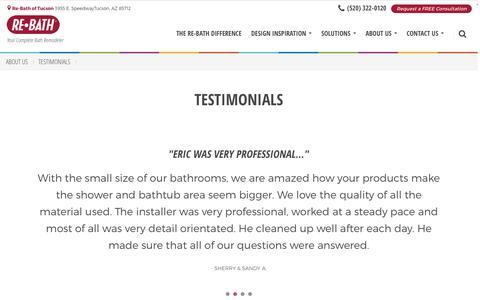 Screenshot of Testimonials Page rebath.com - Testimonials | [SiteProperty:SiteURL] Bathroom Remodeling | About Us - captured March 9, 2017