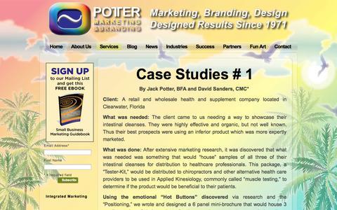 Screenshot of Case Studies Page jbpotter.com - Case Studies - Potter Marketing & BrandingPotter Marketing - captured Oct. 3, 2014