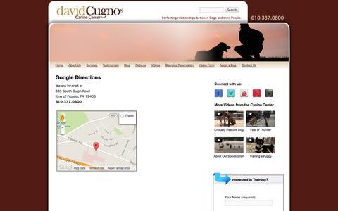 Screenshot of Maps & Directions Page cugnoscaninecenter.com - Google Directions - captured Oct. 5, 2014
