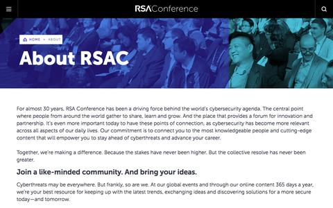 Screenshot of About Page rsaconference.com - About RSAC   RSA Conference - captured Aug. 22, 2019