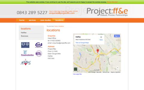 Screenshot of Contact Page projectffe.com - locations – project:ff&e - captured Oct. 3, 2014