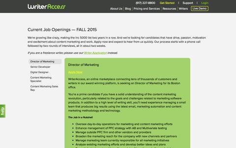 Screenshot of Jobs Page writeraccess.com - Careers in Content Services - Content Marketplace - WriterAccess - captured Oct. 1, 2015