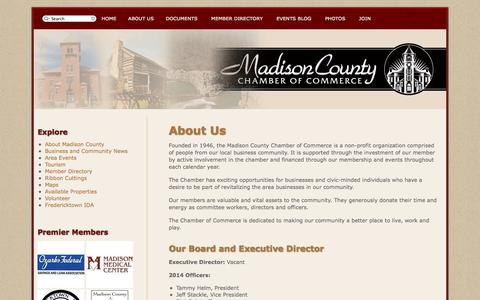 Screenshot of About Page fredericktownmissouri.net - Madison County Chamber of Commerce - captured Oct. 3, 2014