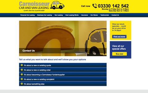 Screenshot of Contact Page carnoisseurleasing.com - Carnoisseur Leasing :: Contact Us - captured Oct. 2, 2014