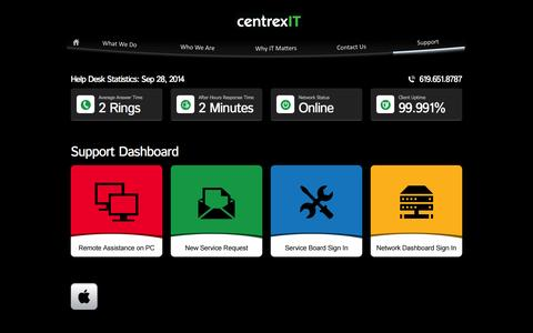 Screenshot of Support Page centrexit.com - Support Dashboard | San Diego's Leader in IT Consulting | CentrexIT.com - captured Sept. 30, 2014