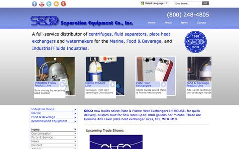 Screenshot of Home Page Privacy Page Terms Page separationequipment.com - Alfa Laval : Plate Heat Exchanger : Oil Separator : Separation Equipment Company, Inc. - captured Oct. 6, 2014