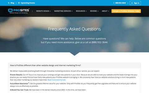 Screenshot of FAQ Page prosites.com - Frequently Asked Questions about Dental Websites | ProSites - captured Sept. 23, 2018