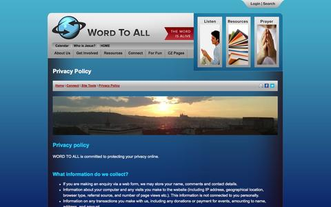 Screenshot of Privacy Page wordtoall.org - Privacy Policy - Word To All International - captured Sept. 23, 2014