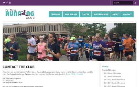 Screenshot of Contact Page fortwaynerunningclub.org - Contact the Club | Fort Wayne Running Club - captured July 3, 2018