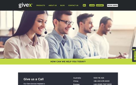 Screenshot of Support Page givex.com - 24/7 Support - captured Sept. 28, 2018