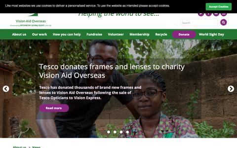 Screenshot of Press Page visionaidoverseas.org - Vision Aid Overseas | News | News - captured Oct. 20, 2018
