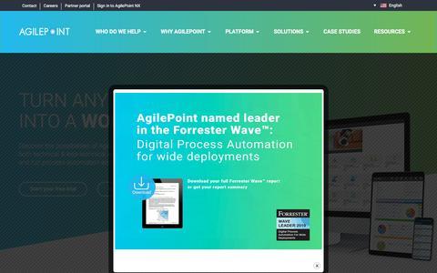 Screenshot of Home Page agilepoint.com - AgilePoint NX - Low-to-No-code Application Development Platform - captured Aug. 16, 2019