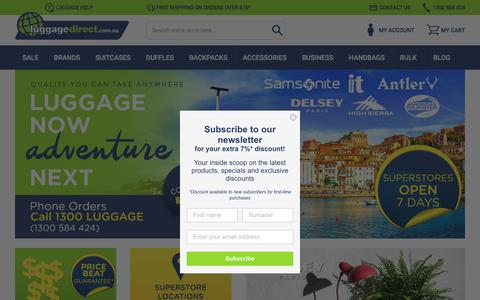 Screenshot of Home Page luggagedirect.com.au - Luggage Bags, Suitcases & Travel Luggage Online | Luggage Direct - captured July 24, 2018