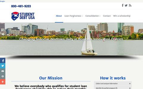 Screenshot of About Page studentdebtusa.com - About Student Debt USA   Student Loan Forgiveness, Lower payments   Student Debt USA   Student Loan Forgiveness - captured Oct. 9, 2014