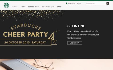 Screenshot of Home Page starbucks.com.sg - Starbucks Coffee Company - captured Oct. 15, 2015