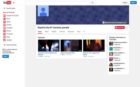 Screenshot of YouTube Page youtube.com - Experia the #1 sensory people  - YouTube - captured Oct. 22, 2014