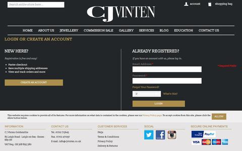 Screenshot of Login Page cjvinten.co.uk - Customer Login | cjvinten.co.uk - captured Sept. 25, 2018