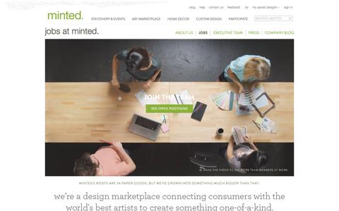 Screenshot of Jobs Page minted.com - Jobs at Minted: Social Commerce in San Francisco | Minted - captured June 16, 2015