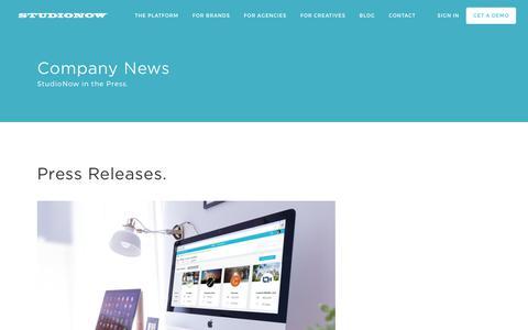 Screenshot of Press Page studionow.com - Press | StudioNow - captured Nov. 1, 2017