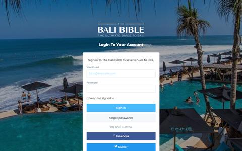 Screenshot of Login Page thebalibible.com - Login | The Bali Bible - captured Feb. 9, 2018