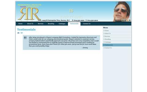 Screenshot of Testimonials Page rrpromo.ca - Testimonials - captured Oct. 9, 2014