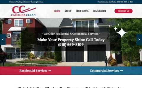 Screenshot of Home Page carolinacleanpressurewashing.com - Pressure Washing Service Raleigh Triangle | Power Washing Company Wake Forest | Pressure Cleaning Raleigh NC - captured July 16, 2018