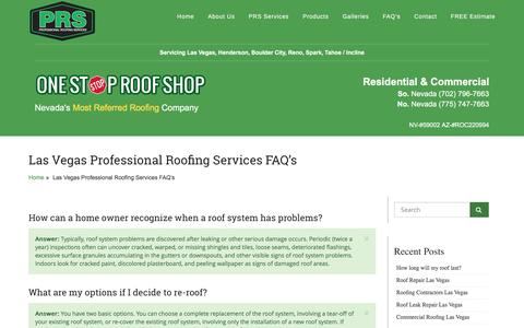 Screenshot of FAQ Page onestoproofshop.com - Las Vegas Professional Roofing Services FAQ's | One Stop Roof Shop - captured Feb. 1, 2016