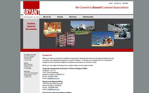 Screenshot of Contact Page jhbryant.com - J.H. Bryant Construction» - captured Nov. 18, 2016