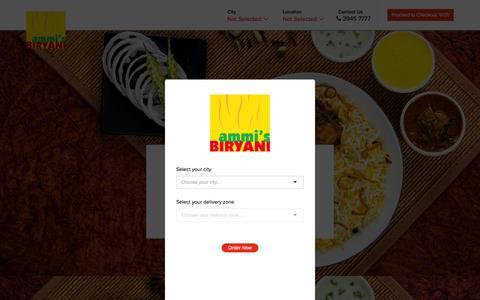 Screenshot of Home Page ammisbiryani.com - Ammis Biryani - Order your Food Online Now! - captured Dec. 28, 2015