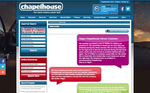 Screenshot of Testimonials Page chapelhouse.co.uk - Chapelhouse | New & Used Cars in St Helens, Warrington, Southport - captured Oct. 2, 2014