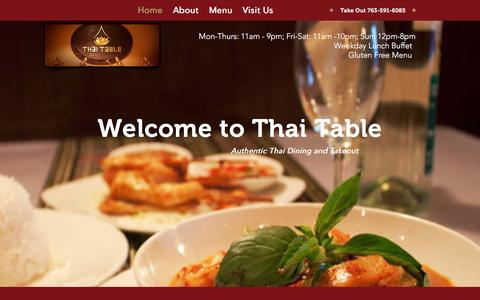 Screenshot of Home Page thai-table.com - Thai Table | Thai Table Restaurant in Plymouth, Minnesota - captured Feb. 22, 2016