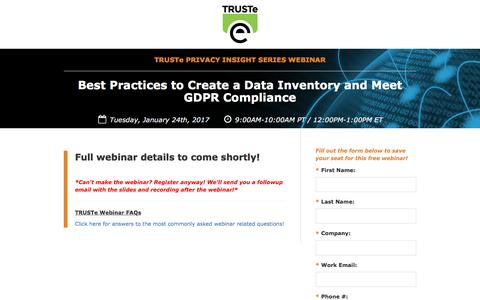 Screenshot of Landing Page truste.com - [Privacy Webinar] Best Practices to Create a Data Inventory and Meet GDPR Compliance - captured Dec. 21, 2016