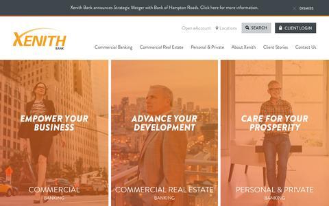 Screenshot of Home Page xenithbank.com - Xenith Bank - captured Feb. 13, 2016
